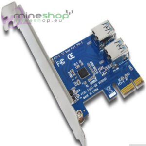 PCI E to 2 Port 1X Switch Multiplier HUB Riser Card External Internal